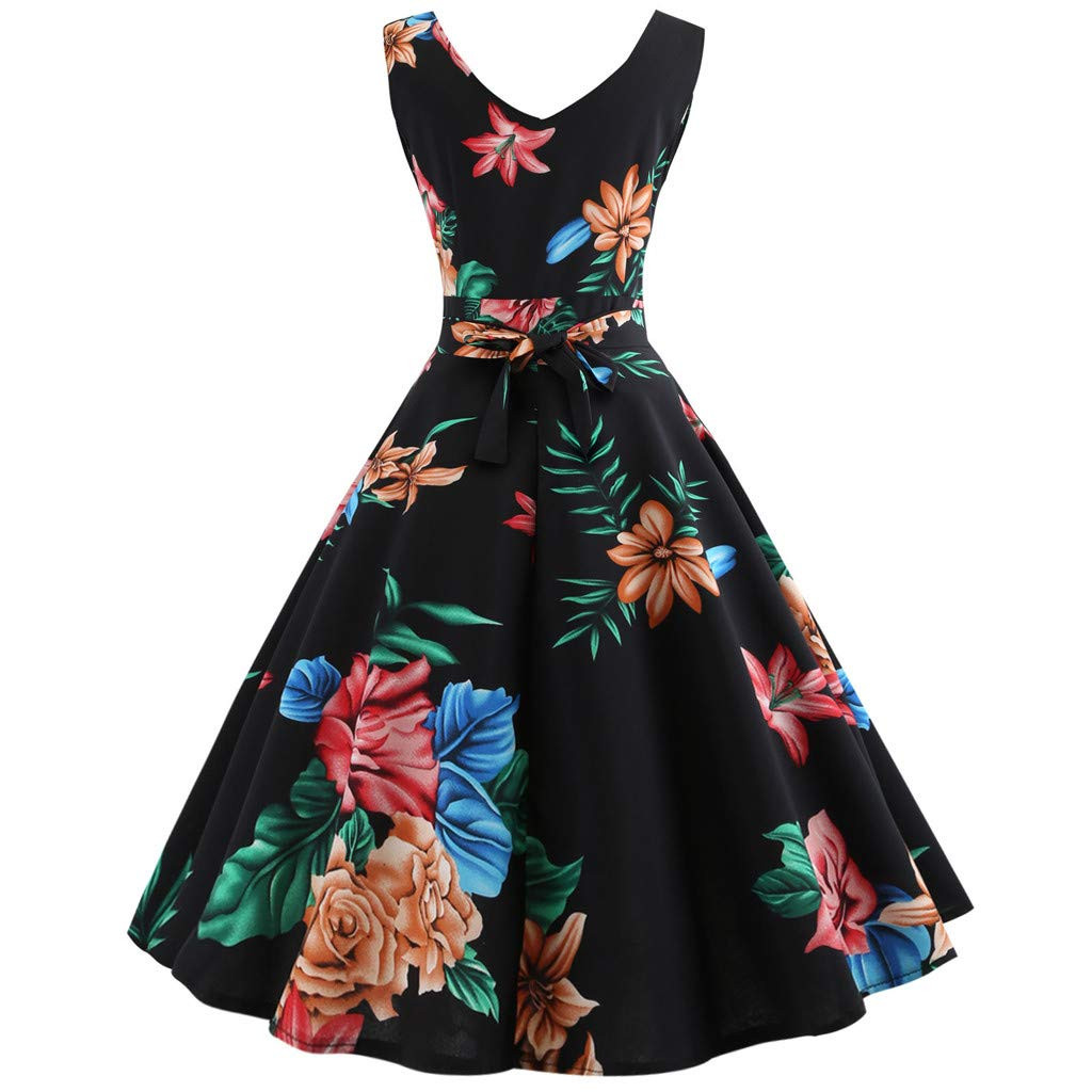 f40840e69c26f Womens Retro 50s V Neck Floral Print Dresses 1950s Vintage Classy Hepburn  Style Sleeveless A-Line Swing Dress for Rockabilly Cocktail Evening Party  Club ...