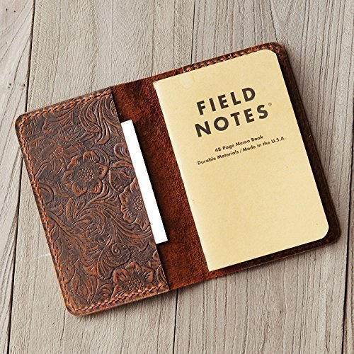Refillable genuine tooled Leather Journal Cover for Moleskine Cahier Notebook Pocket size 3.5'' x 5.5'' Field Notes Cover Vintage Refillable Notepad