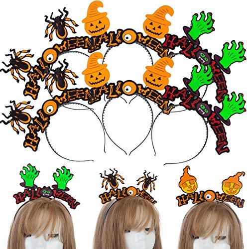 8Pcs Spider Pumpkin Headbands, Halloween Spider Ghost Headwear