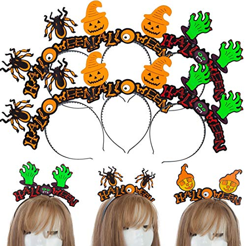 8Pcs Spider Pumpkin Headbands, Halloween Spider Ghost Headwear for Halloween Party Costume Dress up Headbands Party Supplies