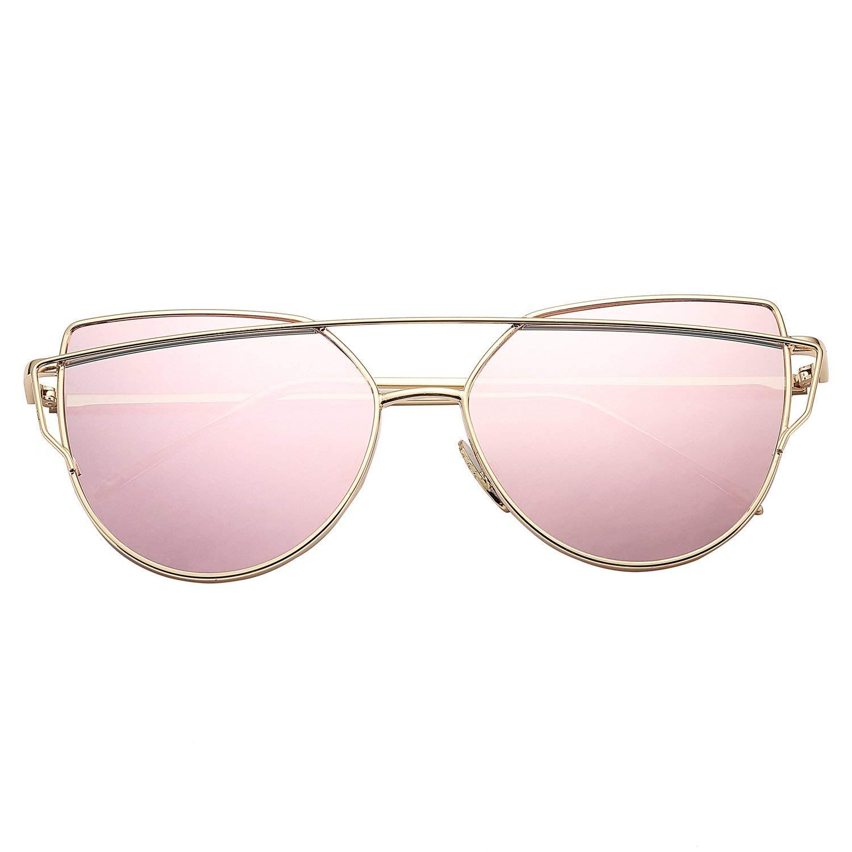Sunglasses for Women, Cat Eye Mirrored Flat Lenses Metal Frame Sunglasses UV400 by Pro Acme