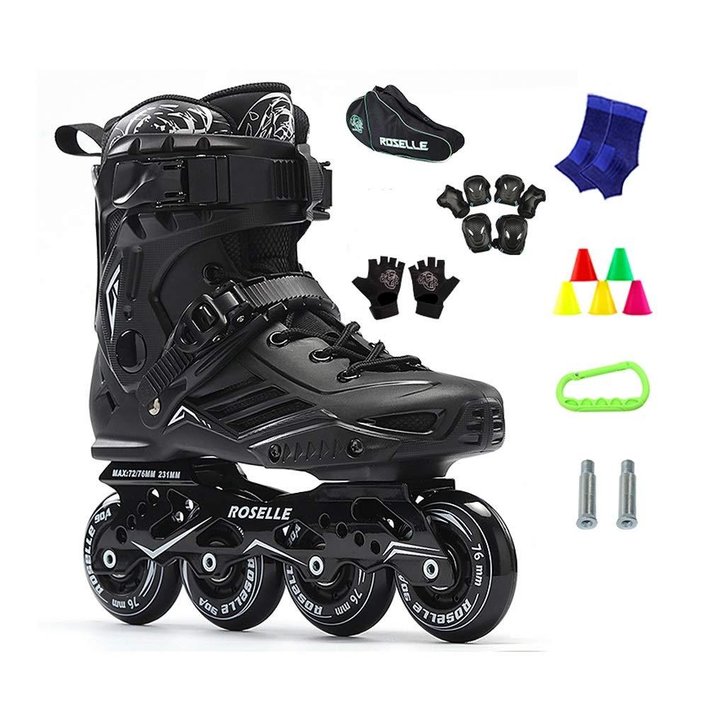 JIANXIN Inline Skates,Youth Light Up The Wheel Roller Skates, Suitable for Women, Men, Beginner Skating, Black (Color : A, Size : EU 37)