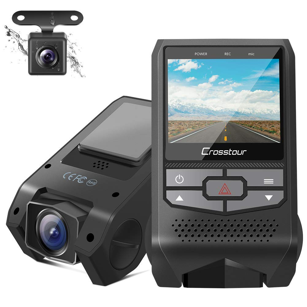 Crosstour Dual Dash Cam Front and Rear FHD 1080P Mini In Car Camera with Parking Monitoring,G-sensor,WDR,Night Vision, Motion Detection, Loop Recording, Screen Rotation (CR600) by Crosstour