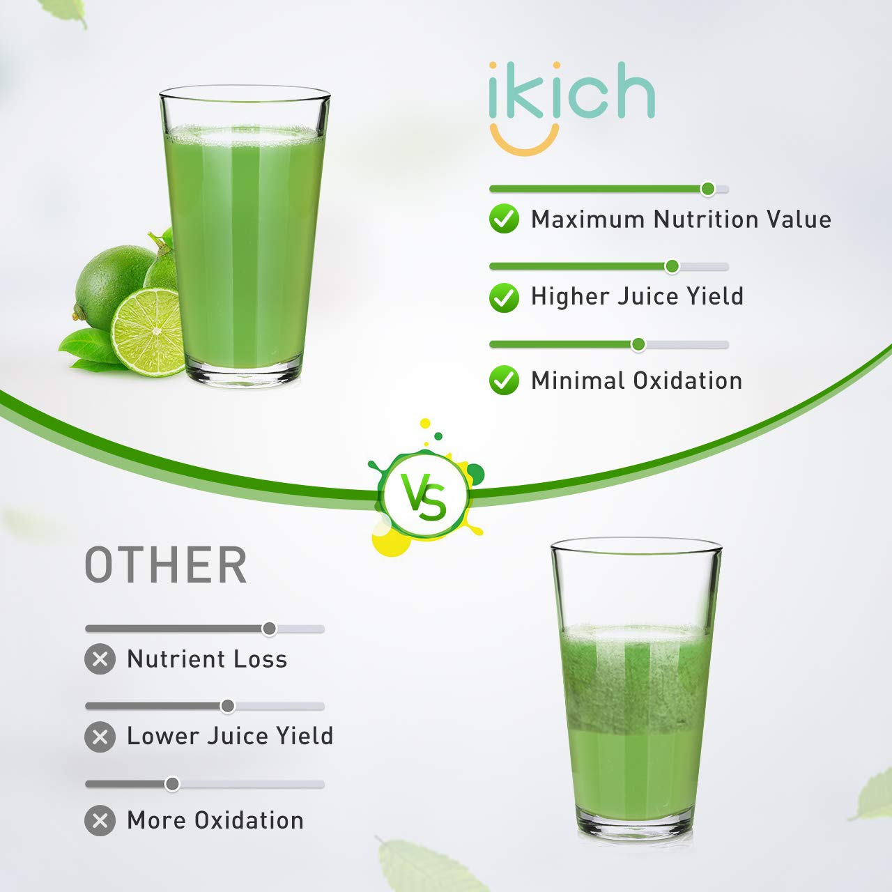 Masticating Juicer IKICH Slow Juicer with 200W Quiet Efficient Motor Compact Design Juicer Machines Easy to Clean with Juice Recipes , Brush , Cold Press Juicer with BPA-Free, FDA Approved by IKICH (Image #3)