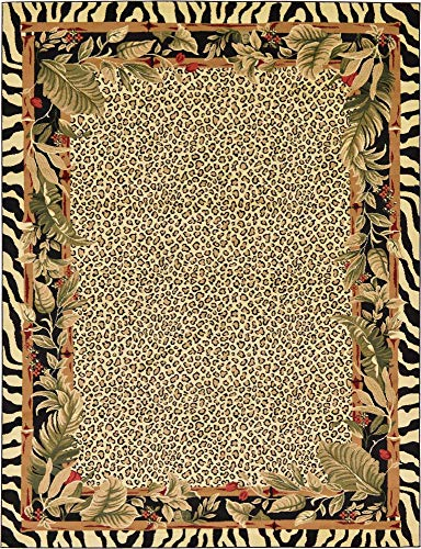 Unique Loom Wildlife Collection Cheetah Botanical Border Animal Print Cream Area Rug (9' 0 x 12' 0)