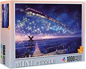 JJHAEVDY Space Puzzle Jigsaw Puzzles for Adult 1000 Piece Starry Sky Landscape Candy House Floor Puzzle for Grown Ups Children Educational Games Toys