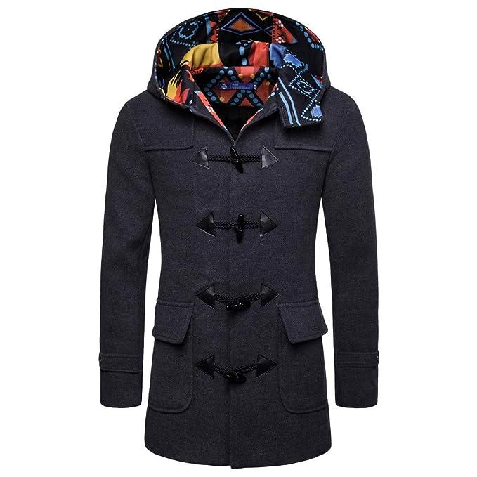 keepwin Abrigos Hombre Invierno Cuello de Caballero Traje pequeño túnica de un Solo Pecho Chaqueta de