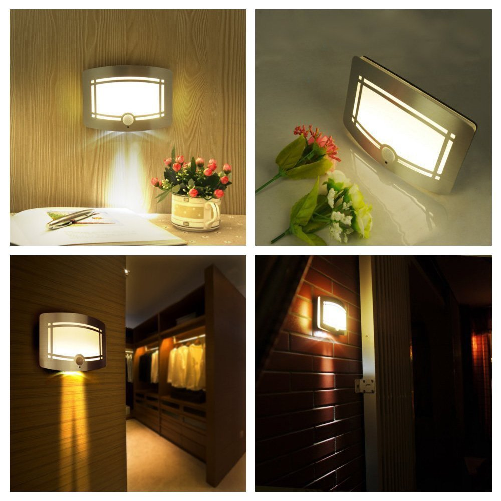 Yuntong Aluminum Stick Anywhere Wireless Battery Powered Motion Sensor Wall Sconce Night Light for Hallway, Pathway, Staircase, Garden,Drive Way [ Auto On/Off With Switch ] by YunTong (Image #1)