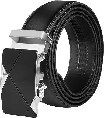 HBF Cinturón Hombre Automático Cinturón Hombre Cuero Longitud 120 cm Ancho 3.5cm Cinturon Negro Con Hebillas Metal (Negro): Amazon.es: Ropa y accesorios