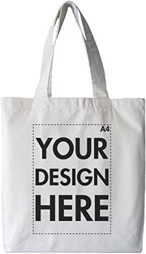 Create Your Own Custom Personalised Tote Shopping Bag! Any Text, Any Photo, Approx A4 Print Size, White Bag