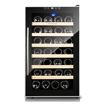 Enfriador de vino termoeléctrico de 28 botellas - Termostato inteligente independiente Enfriador de vino - refrigerador