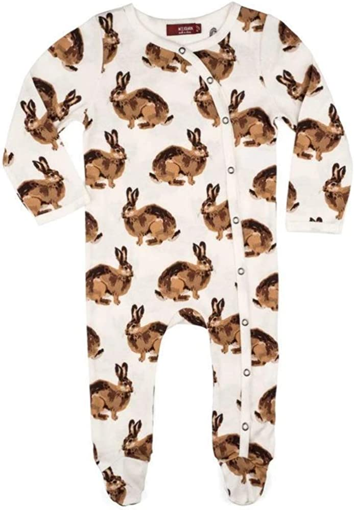 MilkBarn Organic Cotton shop Footed Max 85% OFF Bunny Romper White