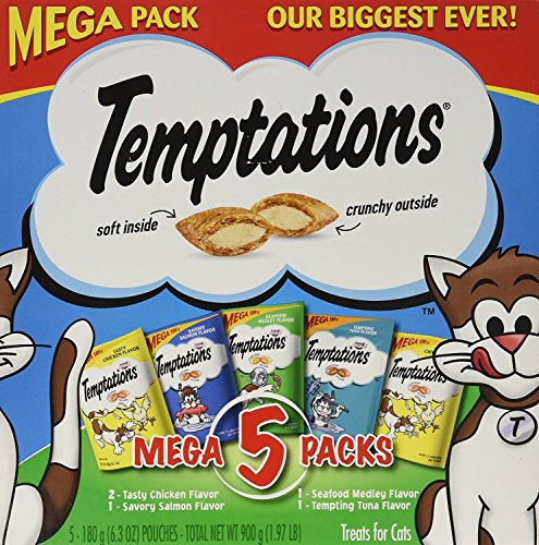 3 x Temptations Whiskas Mega Pack Cat Treats, Assorted Flavors, 6.3 oz, 5 Pack by Temptations