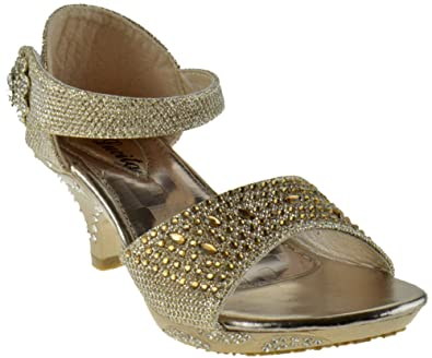 b29e68ad469db9 Lucita Jan-14KM Little Girls Rhinestone Heel Platform Dress Sandals Pageant  Heels Champagne 1