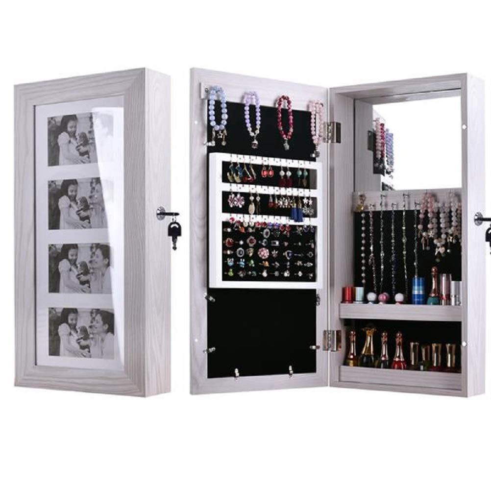 Leoneva Lockable Jewelry Cabinet Jewelry Armoire Wall Door Mounted Jewelry Organizer with Mirror Jewelry Box Earring Organizer Hanging Wall Mirror Jewelry Storage