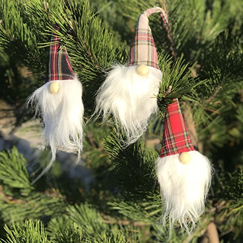 The Highlander Santa Gnomes, Set of 3, Swedish Tomte Style, Hanging Ornament, Bendable Plaid Hats, Faux Fur, Christmas Decoration, approx. 8 H Inches, Polyester and Metal Wire, By Whole House - Traditional Christmas Norwegian