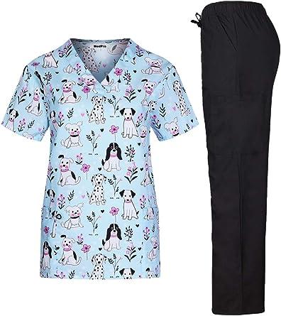Womens Fashion Medical Nursing Scrub Tops Printed Breast Cancer Heart L