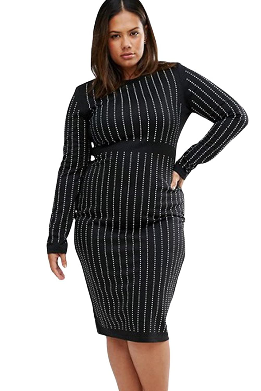 Womens Big Girls Rhinestone Stripes Long Sleeve Club Autumn Dress