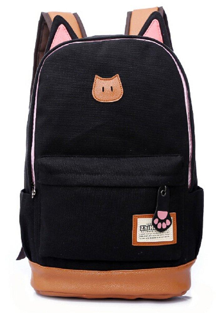 Siawasey新しいかわいい韓国スタイル猫耳キャンバスバックパックスクールShoulder Bag (ブラック)   B00UMYY7RQ