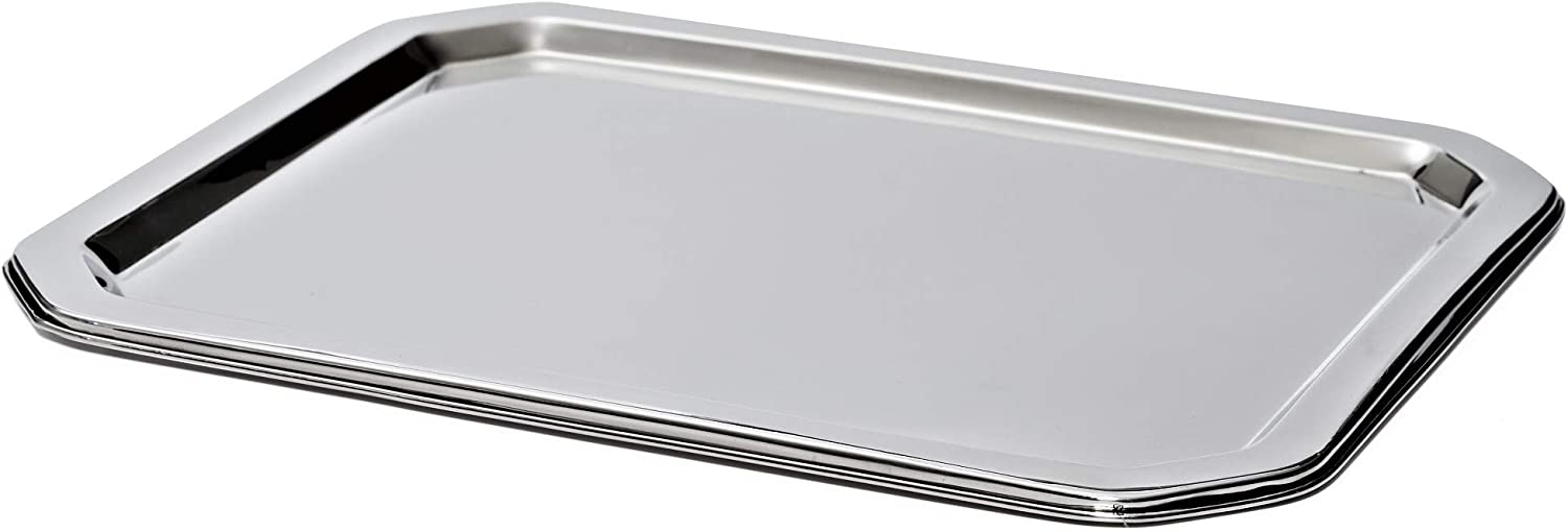 Bezrat Stainless Steel Food Serving Tray – Rectangular Decorative Mirrored Serveware Platter - Large (16