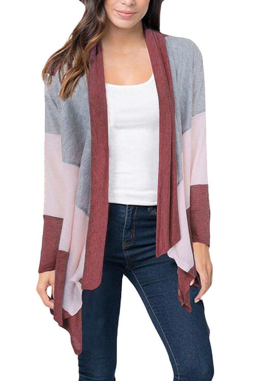 Aifer Women Color Block Lightweight Sweaters Open Front Drape Knit Cardigan