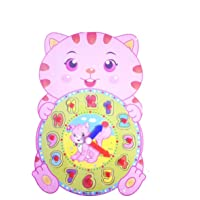 Emob Educational Time Learning Cute Animal Shaped Wooden Clock For Kids with Moveable Hands Features (Cat)