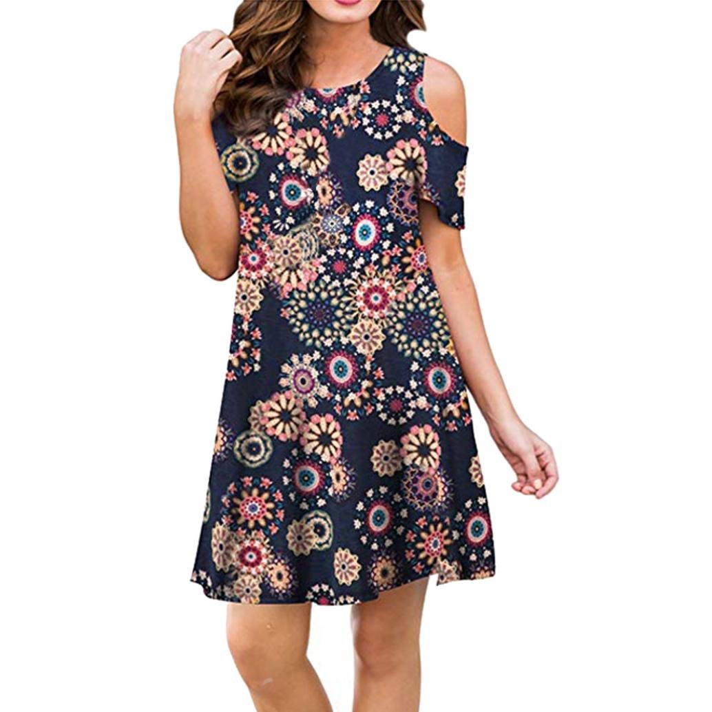 Rambling Women's Casual Floral Print Cold Shoulder Dress Summer Loose Tops with Pockets