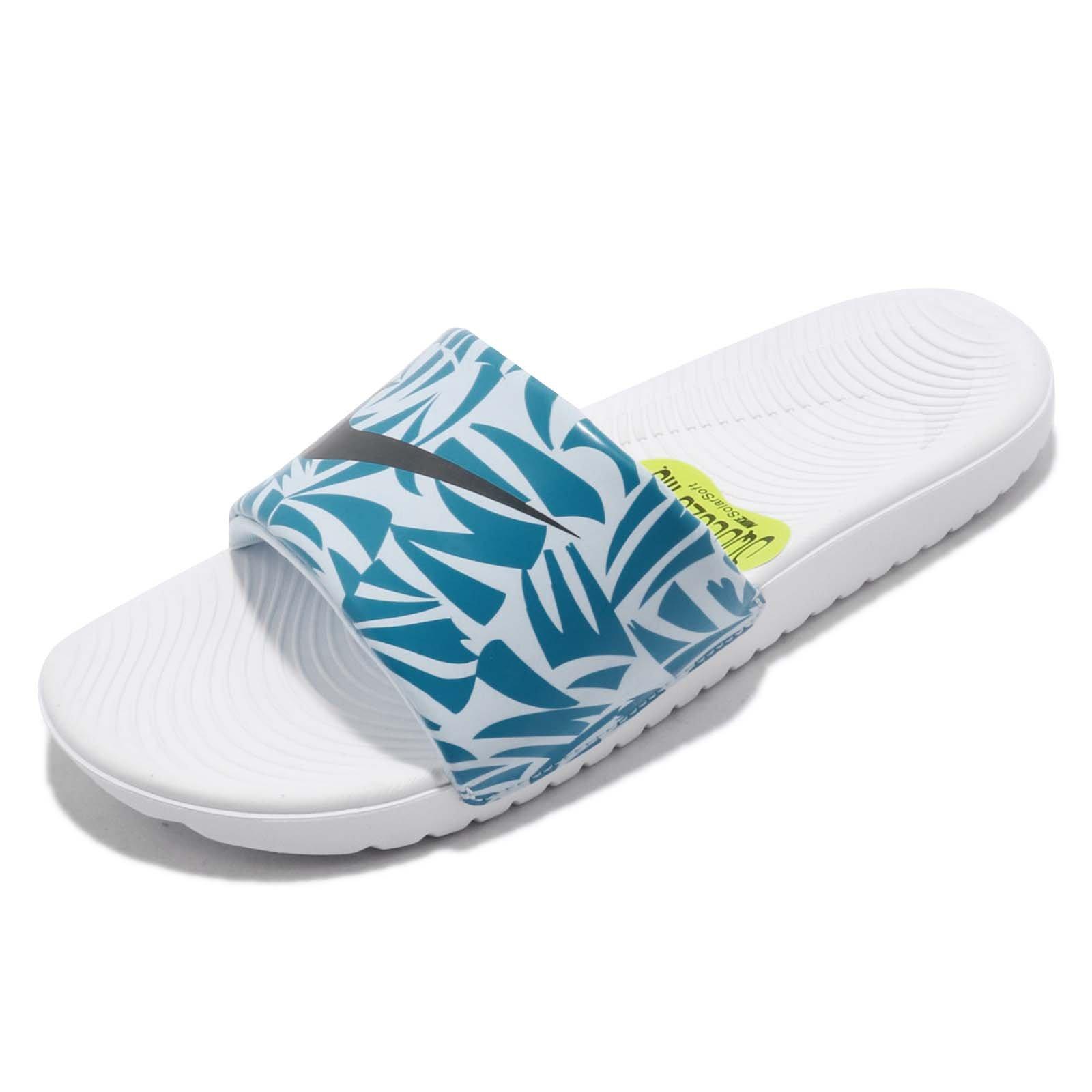 NIKE Girl's Kawa Print Slide Sandals, White/Anthracite-Neo Turq-Cobalt Print, 7Y