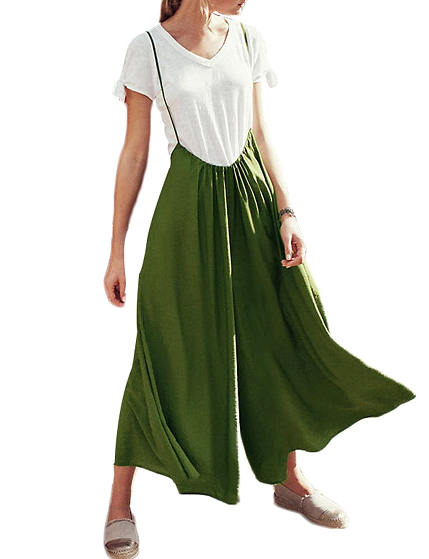 6fb1848946f Amazon.com  IRISIE Women Retro Loose Spaghetti Strap Wide Leg Overall  Jumpsuit  Clothing