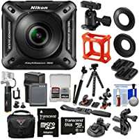 Nikon KeyMission 360 Wi-Fi Shock & Waterproof 4K Video Action Camera Camcorder + Action Mounts + 64GB + Battery + Case + 6000mAh Grip + Selfie Stick + Tripod Kit
