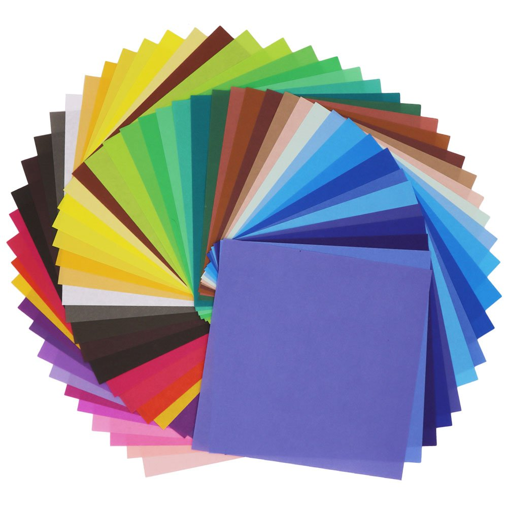 SOOKOO 50 Vivid Colors 200 Sheets Single Sided Origami Paper for Arts and Crafts Projects, 6-Inch by 6-Inch CAART-ZHEZHI01-MC200PC