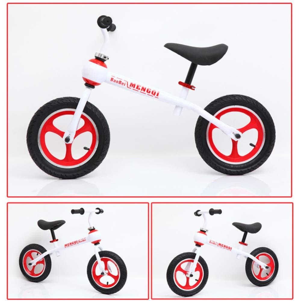 CHRISTMAD Balance Bike for Kids Telaio in Acciaio al Carbonio No Pedale Bambino Learning Bike Regolabile in Altezza E Posizione da 18 Mesi A 5 Anni,bianca