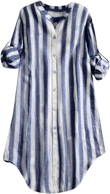 Camiseta de Mujer, Otoño Verano Moda Comodo Algodón y Lino Manga Larga Raya Impresión Blusa Elegante Camisa Cuello Redondo Tallas Grandes Camiseta Casual Suelto Tops Fiesta T-Shirt Original vpass: Amazon.es: Ropa y