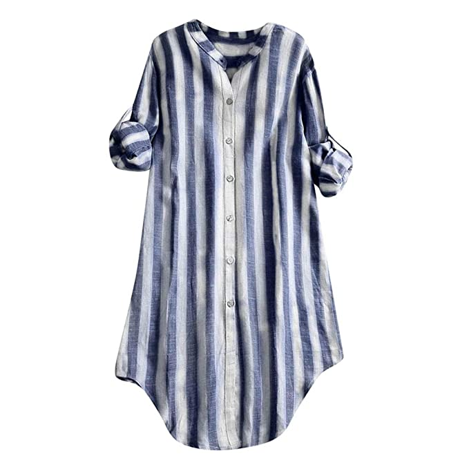 3adadb7c73 POQOQ T Shirt Dress Button Up Stand Collar 3/4 Sleeve Striped Top Women Plus  Size Tunic Blouse at Amazon Women's Clothing store:
