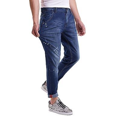SK Studio Herren Jeans Jeanshose Beiläufige Denim Gerade Bein Ausdehnungs Jeans  Blau 28W