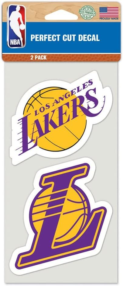 "WinCraft NBA Los Angeles Lakers Perfect Cut Decal (Set of 2), 4"" x 4"""