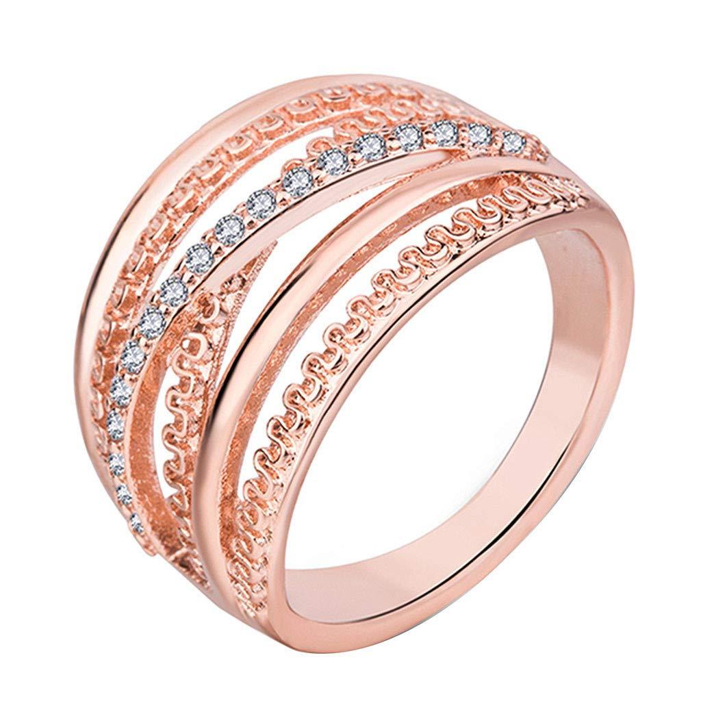 Booboda JJZ346 Sleek Minimalist Jewelry, Rose Gold Multi-Filament Ring, Elegant Temperament Ladies Ring(Rose Gold9#)