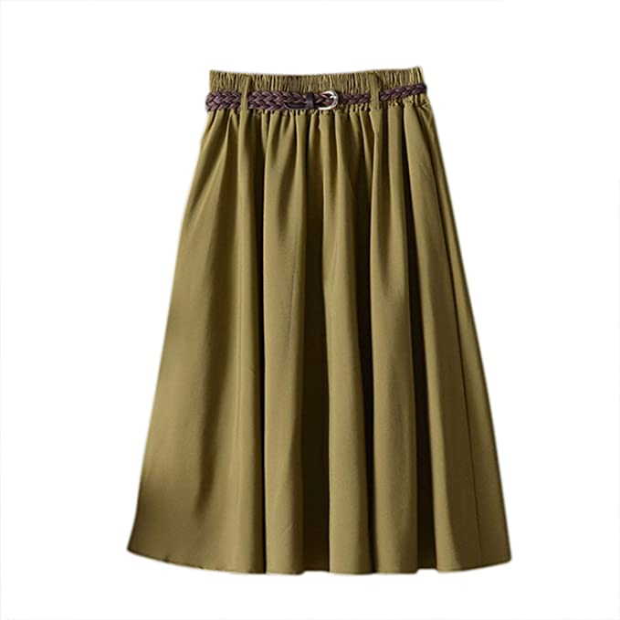 high quality new list website for discount The small cat H Summer Women Skirt Comfort Solid A Line Mid ...