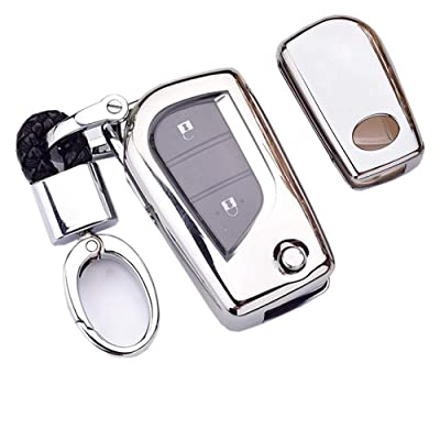 Royalfox(TM) 2/3/4 Buttons Soft TPU Folding keyless Remote Key Fob case Cover for Toyota Levin Camry Highlander RAV4 Fortuner,2020 2020 2020 Toyota Corolla iM Keychain (Silver) [5Bkhe1004713]