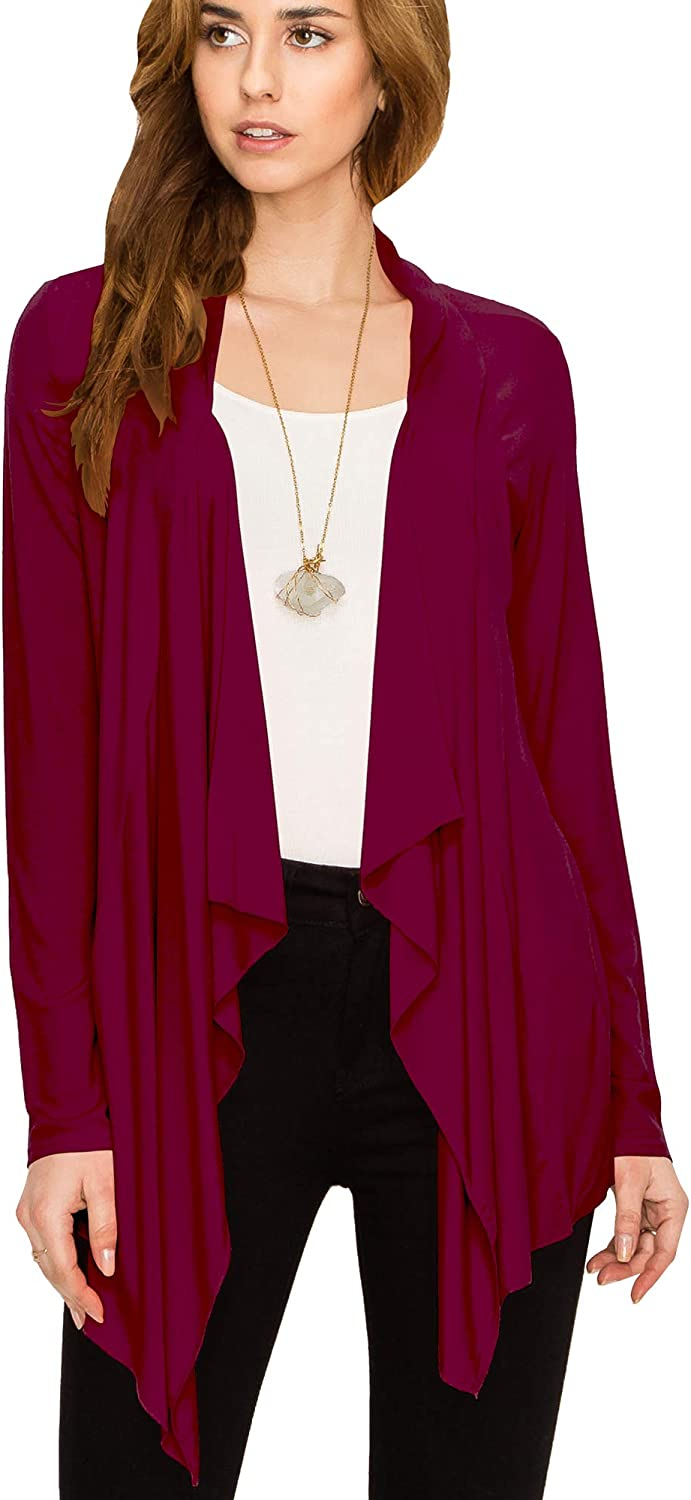 Lock and Love Women's Drape Front Open Cardigan Long Sleeve Irregular Hem S-5XL Plus Size Made in USA