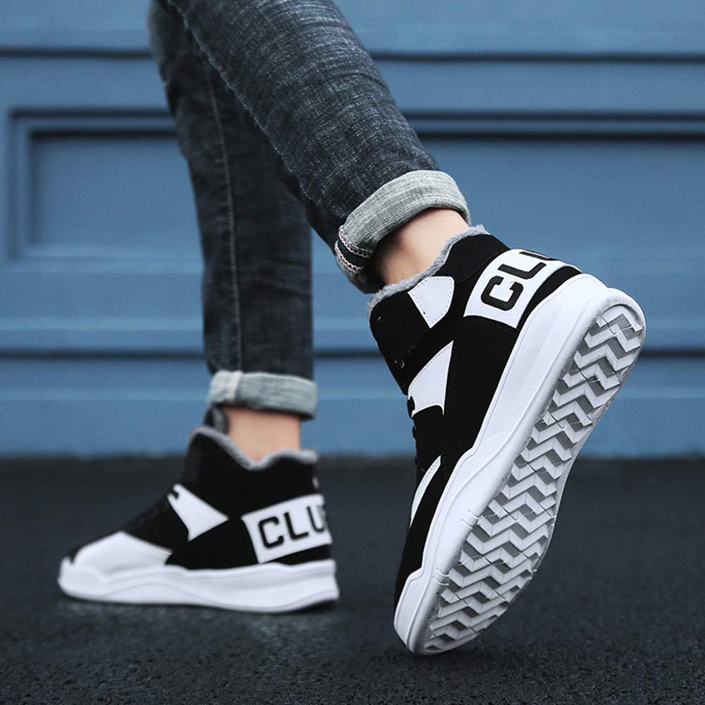 MUOU Baskets Mode Sneaker Hommes Chaussures Mode Haute Top Hommes Sneakers Respirant en Cuir Hommes Sneakers Noir