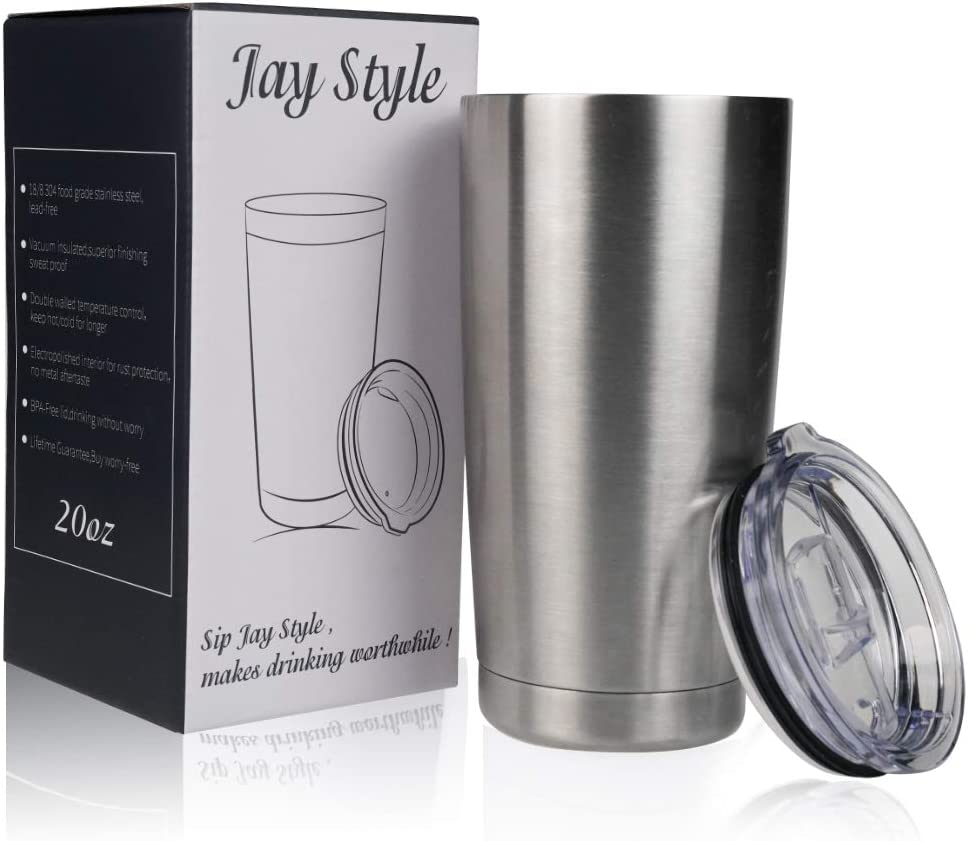 Jay Style Stainless Steel Tumbler - 20 oz Vacuum Insulated Double Wall Travel Mug with Lid,Coffee Cup for Home,Office,Outdoor,Ice Drink(Stainless steel,1 Pack)