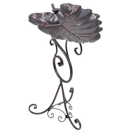 Happy Beaks Gardman Standing Metal Bird Bath Ornate Bronze Leaf Bowl Outdoor Garden Pe