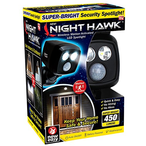ONTEL Night Hawk - Super Bright 450 Lumen LED Outdoor Indoor Security Spotlight | Advanced Motion Sensor | Adjustable Head | Easy Wireless Installation | 3000 Uses by Ontel