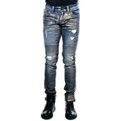 Amazon.com: Rock Revival Biker Moto Skinny Jeans 36/32 Blue ...