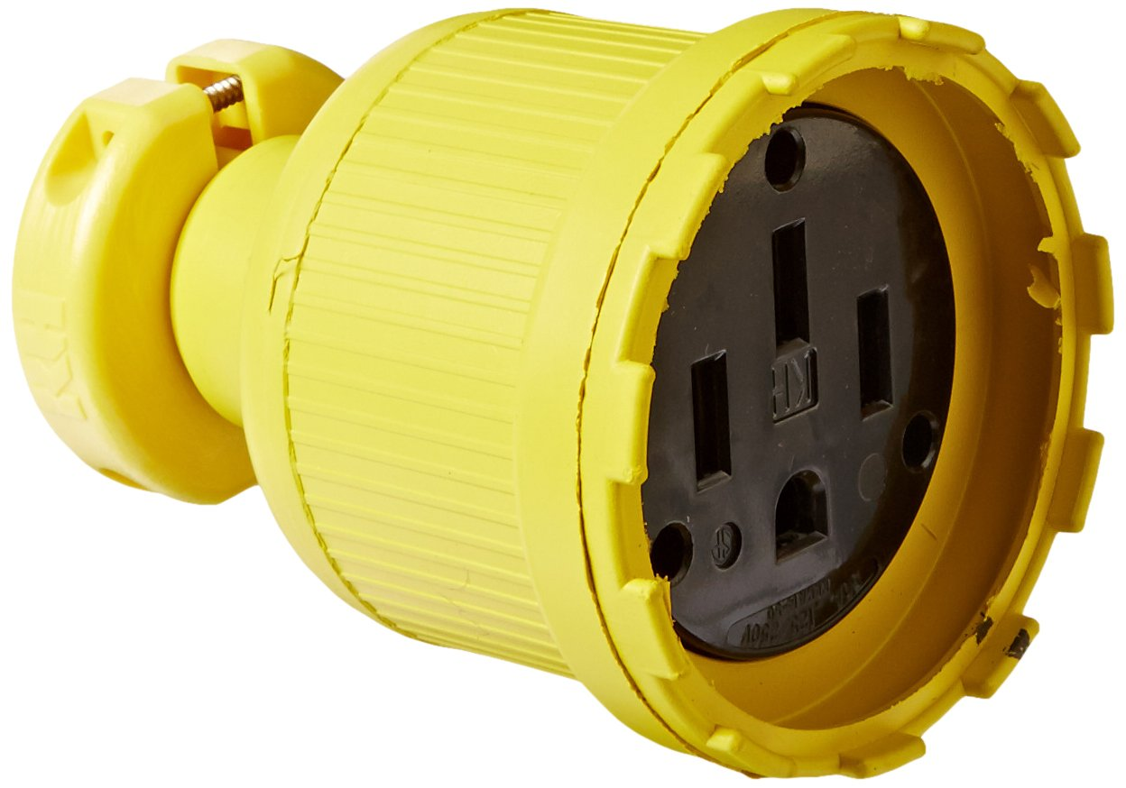 KH Industries C1450DF Rubber/Polycarbonate Rewireable Flip Seal Straight Blade Connector, 2 Pole/4 Wire, 50 amps, 125-250V AC, Yellow