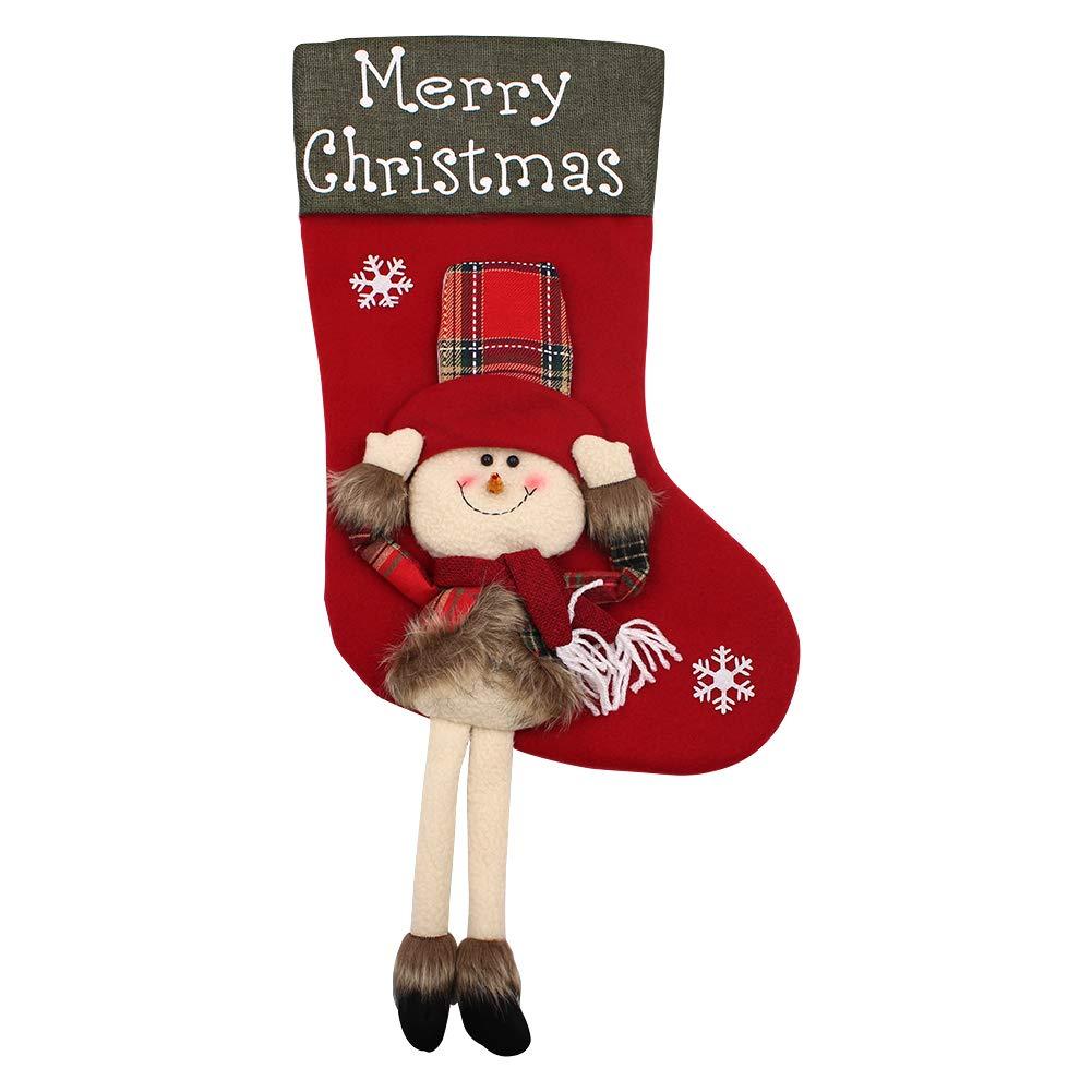 ETLEE Christmas Stockings Plush, 23'' Christmas Decoration for Mantel Hanging Xmas Party Gift Home Decor Accessories - Santa/Reindeer/ Snowman (Snowman)