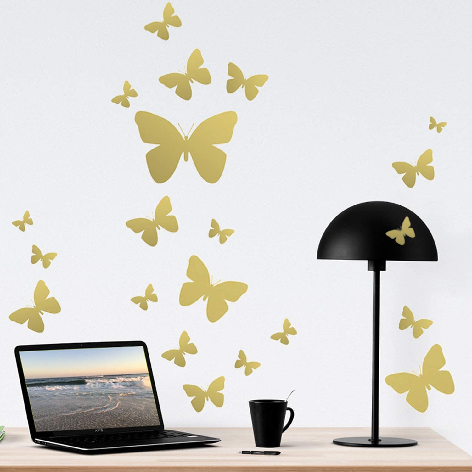 Amazon Com Butterfly Wall Decals Beautiful Girls Wall Stickers Wall Art Vinyl Stickers For Bedroom Peel And Stick Kids Room Decor Nursery Toddler Teen Decorations Playroom Birthday Gift 2 Gold Arts Crafts