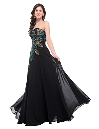 ae47e96c1c5 Mina Tie Womens Gorgeous Sleeveless Peacock s Tail Embroidery RoyalBlue  Chiffon Long Dress at Amazon Women s Clothing store