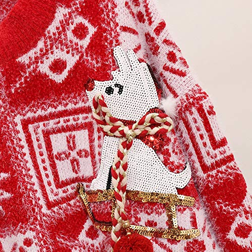 Maglioni Casual Neve Inverno Sciolto Donna Geometrica Maglione Femminile Pullover 3d Rosso Top Autunno Lloo Babbo Di Cartoon Natale ZawcUR
